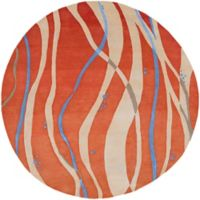 Surya Modern Swirl 8' Round Rug in Orange/Blue