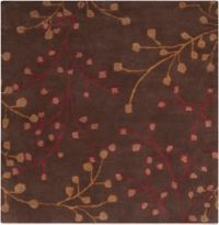 Surya Athena Floral 4' Square Hand Tufted Area Rug in Brown/Red