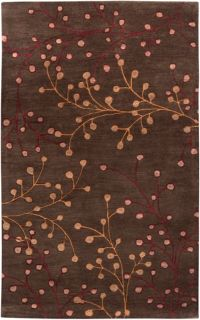 Surya Athena Floral 6' x 9' Hand Tufted Area Rug in Brown/Red