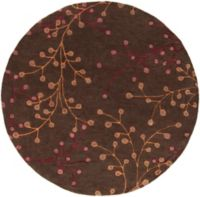 Surya Athena Floral 6' Round Hand Tufted Area Rug in Brown/Red