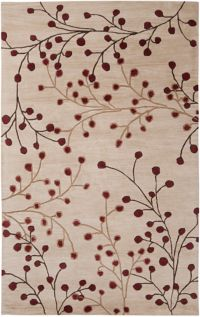 Surya Athena Floral 5' x 8' Hand Tufted Area Rug in Red/Brown