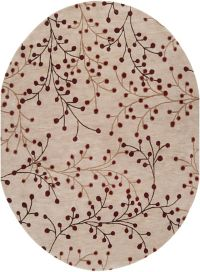 Surya Athena Floral 6' x 9' Hand Tufted Oval Area Rug in Red/Brown