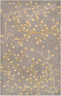 Surya Athena Floral 5' x 8' Hand Tufted Area Rug in Grey/Gold