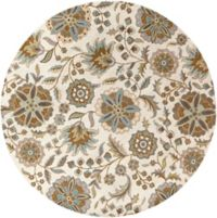 Surya Athena Floral Botanical 4' Round Hand Tufted Area Rug in Blue