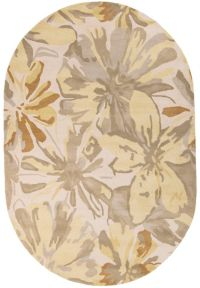 Surya Athena Floral 6' x 9' Oval Area Rug in Green/Yellow