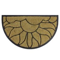 "Northlight Sunrise Half-Round 17.75"" x 29.75"" Door Mat in Black"