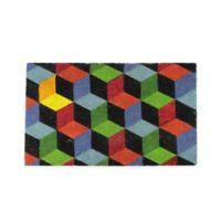 "Northlight Cubes 18"" x 29.5"" Coir Multicolor Door Mat"