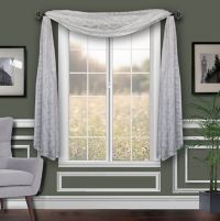Florentina Printed Sheer Window Scarf Valance in White