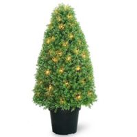 National Tree Company® 36-Inch Pre-lit Boxwood Tree in Planter
