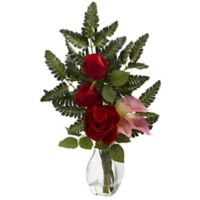 Nearly Natural 21-Inch Rose and Calla Lily Artificial Arrangement with Glass Vase