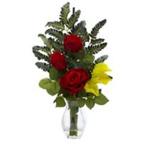 Nearly Natural 21-Inch Rose and Calla Lily Artificial Arrangement with Glass Vase in Yellow