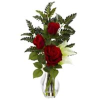 Nearly Natural 21-Inch Rose and Calla Lily Artificial Arrangement with Glass Vase in Cream
