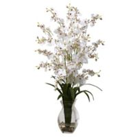 Nearly Natural 25-Inch Dancing Lady Orchid Artificial Arrangement with Glass Vase in White