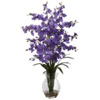 Nearly Natural 25-Inch Dancing Lady Orchid Artificial Arrangement with Glass Vase in Purple