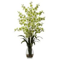 Nearly Natural 25-Inch Dancing Lady Orchid Artificial Arrangement with Glass Vase in Green