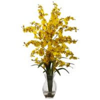 Nearly Natural 25-Inch Dancing Lady Orchid Artificial Arrangement with Glass Vase in Yellow
