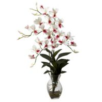 Nearly Natural 23-Inch Dendrobium Orchid Artificial Arrangement with Glass Vase in White