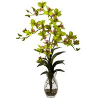 Nearly Natural 23-Inch Dendrobium Orchid Artificial Arrangement with Glass Vase in Green