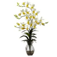 Nearly Natural 23-Inch Dendrobium Orchid Artificial Arrangement with Glass Vase in Cream