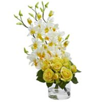 Nearly Natural 20-Inch Rose and Orchid Artificial Arrangement with Glass Vase in Yellow/Cream