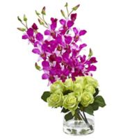Nearly Natural 20-Inch Rose and Orchid Artificial Arrangement with Glass Vase in Orchid/Green