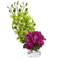 Nearly Natural 20-Inch Rose and Orchid Artificial Arrangement with Glass Vase in Green/Pink