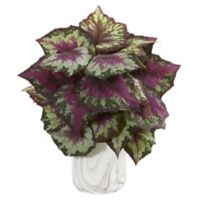 Nearly Natural 15-Inch Artificial Wax Begonia Plant in Marble-Finished Vase