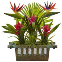 Nearly Natural 19-Inch Birds of Paradise and Bromeliad in Planter