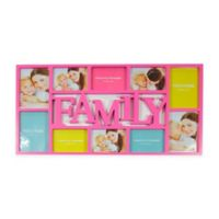 Northlight 28.75-Inch Dual-Sized 'Family' Picture Collage Frame in Pink