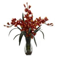 Nearly Natural Artificial Triple Burgundy Cymbidium Orchid in Vase