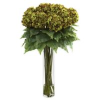Nearly Natural Artificial Green Hydrangea Arrangement in Vase