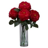 Nearly Natural Artificial Fancy Red Rose Arrangement in Vase