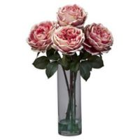 Nearly Natural Artificial Fancy Pink Rose Arrangement in Vase