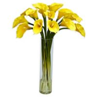 Nearly Natural Artificial Yellow Calla Lilly Arrangement in Vase