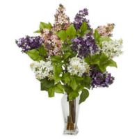 Nearly Natural Artificial Multicolor Lilac Arrangement in Vase