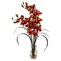 Nearly Natural Artificial Burgundy Cymbidium Orchid in Vase