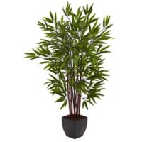 Nearly Natural 4-Foot Bamboo Artificial Tree with Planter