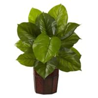 Nearly Natural 28-Inch Artificial Large Leaf Philodendron Plant with Brown Planter