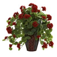 Nearly Natural 22-Inch Artificial Geranium Plant with Decorative Planter