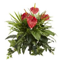 Nearly Natural 24-Inch Artificial Mixed Anthurium Plants (Set of 2)