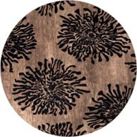 Surya Bombay Floral 8' Round Handcrafted Area Rug in Black/Brown