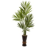 Nearly Natural 6' Kentia Tree with Bamboo Planter