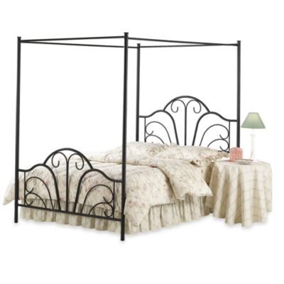hillsdale dover full canopy bed with rails in black metal