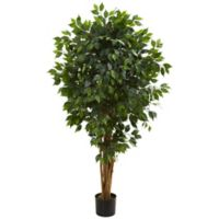 Nearly Natural 5.5-Inch Artificial Ficus Tree in Black Planter