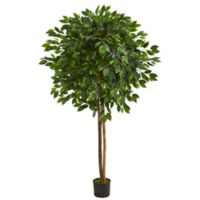 Nearly Natural 6.5-Foot Artificial Ficus Tree with Black Planter