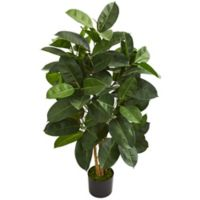 Nearly Natural 4-Foot Artificial Oak Ficus Tree with Black Planter