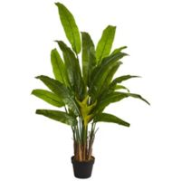 Nearly Natural 4.5-Inch Artificial Traveler's Palm Tree in Black Planter