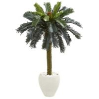 Nearly Natural 4-Foot Artificial Sago Palm Tree with Textured White Planter
