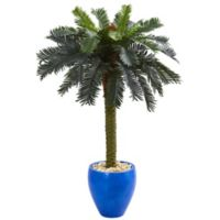 Nearly Natural 4-Foot Artificial Sago Palm Tree with Glazed Blue Planter