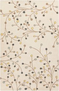 Surya Athena Floral 4' x 6' Handcrafted Area Rug in Ivory/Green